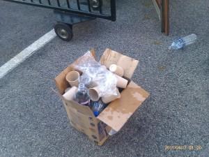 empty plastic bottles in the trash